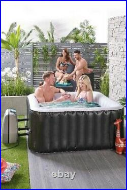 4 Person Black Inflatable Jacuzzi Hot Tub Spa Bubbles Square Brand New