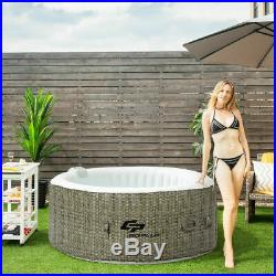 4 Person Inflatable Hot Tub Outdoor Jets Portable Heated Bubble Spa Home Massage