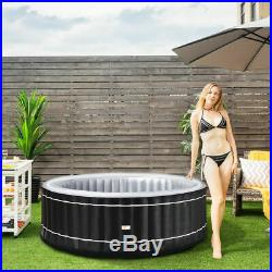 4-Person Inflatable Hot Tub Portable Outdoor Bubble Leisure Massage Spa Black