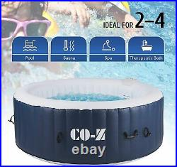 4-Person Inflatable Hot Tub Spa, 6x6ft Above Ground Pool with Air Pump