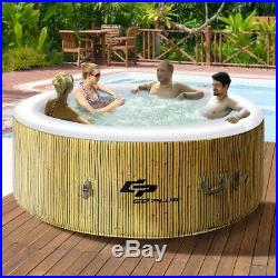 4 Persons Portable Large Heated Round Bubble Massage Spa Pool Inflatable Hot Tub