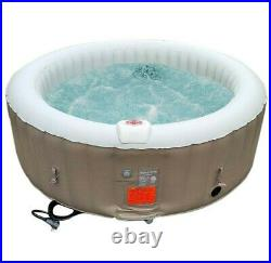 6 Person Inflatable Hot Tub Portable Bubble Jets Spa Outdoor Beige With Cover