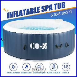 6-Person Round Inflatable Hot Tub w 140 Bubble Jets for Patio Backyard and More