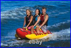 AIRHEAD HD-3 Hot Dog Triple Rider Towable Inflatable 3-Person Tube with Tow Rope