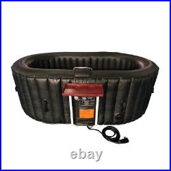 ALEKO HTIO2BKBK Oval Inflatable Hot Tub Spa With Drink Tray and Cover 2 Person