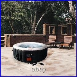 ALEKO Round Inflatable Hot Tub With Cover 6 Person 265 Gallon Black and White