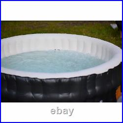 ALEKO Round Inflatable Jetted Hot Tub Spa With Cover 6 Person 265 Gallon Black