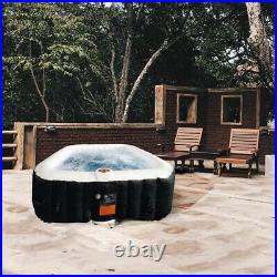 ALEKO Square Inflatable Hot Tub With Cover 6 Person 250 Gallon Black and White