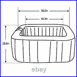 ALEKO Square Inflatable Jetted Hot Tub Spa With Cover 4 Person 160 Gallon Gray