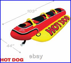 Airhead HD-3 Hot Dog Triple Rider Towable Inflatable 3 Person Boat Lake Tube