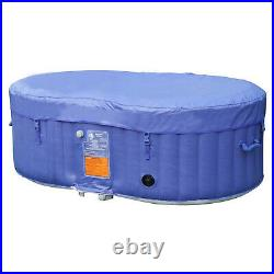 Aleko 145 Gallon 2 Person Oval Inflatable Jetted Hot Tub with Fitted Cover, Blue