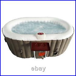 Aleko 145 Gallon 2 Person Oval Inflatable Jetted Hot Tub with Fitted Cover, Brown