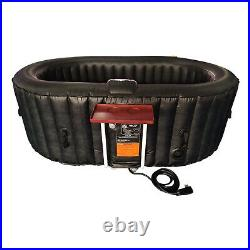 Aleko 2 Person Oval Inflatable Jetted Hot Tub with Fitted Cover, Black (For Parts)
