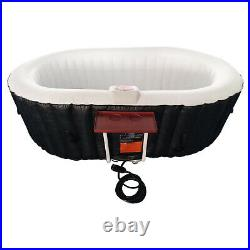 Aleko 2 Person Oval Inflatable Jetted Hot Tub with Fitted Cover, Black (Open Box)