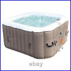 Aleko 4 Person Square Inflatable Jetted Hot Tub with Fit Cover, Brown (Open Box)