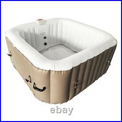 Aleko 4 Person Square Inflatable Jetted Hot Tub with Fit Cover, Brown (Used)