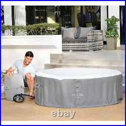 Bestway SaluSpa St. Lucia 3 Person Round Inflatable Outdoor Hot Tub Spa, Gray