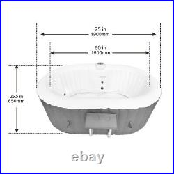 Blue Hot Tub Inflatable Spa 2 Person Bubble Massage Jets Oval With Cover And Tray