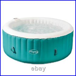 CleverSpa 7959 Inyo 4 Person Inflatable Round Hot Tub with 110 Air Jets, Teal