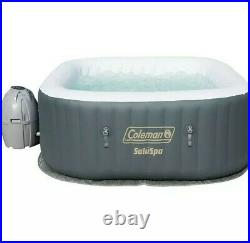 Coleman SaluSpa 4 Person Inflatable Outdoor AirJet Spa Hot Tub, Gray (Used)