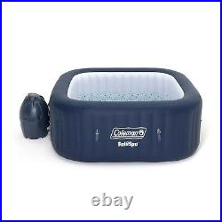 Coleman SaluSpa 4 Person Square Portable Inflatable Outdoor Hot Tub Spa, Blue