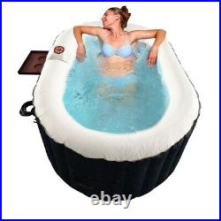 Hot Tub Inflatable Spa Black 2 Person Bubble Massage Jets Oval With Cover And Tray