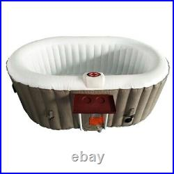 Inflatable Hot Tub Spa 2 Person Bubble Massage Jets Oval Brown With Cover And Tray