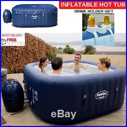 Inflatable Hot Tub To 6 Person Capacity Jacuzzi Round Shape & Drink Holder Gift