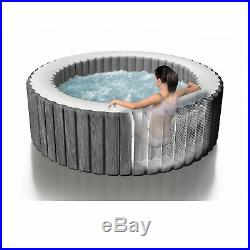 Intex 28439E Greywood Deluxe 4 Person Inflatable Spa/Hot Tub with LED Light, Grey