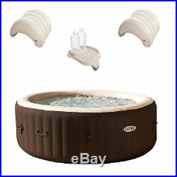 Intex 4 Person Hot Tub Spa with Cup Holder Tray & Inflatable Headrest (2 Pack)