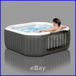 Intex 4 Person Octagon Portable Inflatable 120 Jets Hot Tub with Insulated Cover
