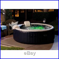 Intex 75 Spa 6 Person Round Hot Tub with Cup Holder & Refreshment Tray, Tan