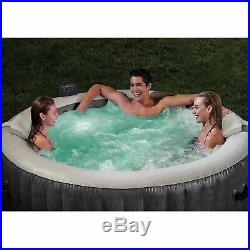 Intex Greywood Deluxe 4 Person Inflatable Hot Tub Bubble Jet Spa, Grey(Open Box)