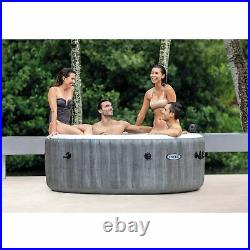 Intex Greywood Deluxe 4 Person Inflatable Hot Tub Jet Spa & Cover Package, Grey