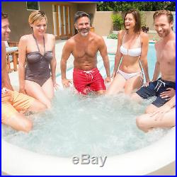 Intex PureSpa 4 Person Inflatable Bubble Jet Spa Hot Tub Set with Tray & Headrest