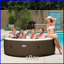 Intex PureSpa 6-Person Portable Inflatable Bubble Jet Hot Tub with Tub Seat
