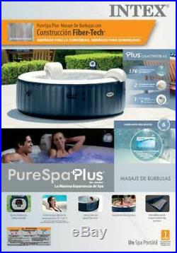 Intex Pure Spa 6 Person Inflatable Hot Tub & Qualco Home 6 Month Chemical Kit