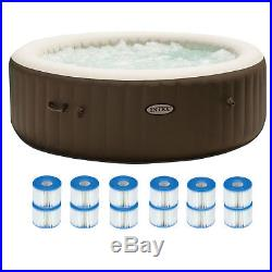 Intex Pure Spa 6 Person Portable Inflatable Hot Tub + 12 Filter Replacements