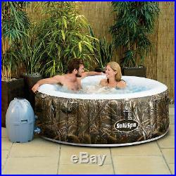 Realtree Camo AirJet 4-Person Portable Inflatable Hot Tub Spa Round with Pump